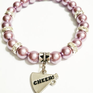 Cheer Charm Bracelet – Cheerleader Jewelry – Dance Jewelry - Pearl Cheerleading Jewelry - Dance Recital Gift - Teen Jewelry - Sports Jewelry