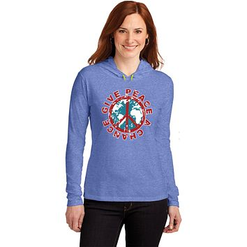 Ladies Peace T-shirt Give Peace a Chance Hooded Shirt