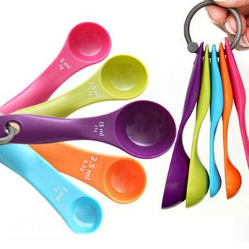 Fashion 5 Pcs Colorful Hot Charming Measuring Spoons Set Kitchen Tools Utensils Cream Cooking Baking