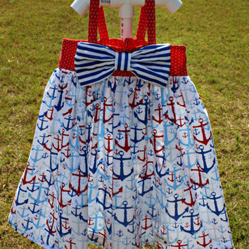 3T Fourth of July dress, Hattie dress with bow, red, white, and blue dress with anchors, polka dots, and stripes, July 4th outfit