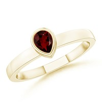 14K Yellow Gold Pear Garnet Ring - SR0764G