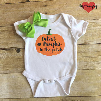 Cutest Pumpkin In The Patch Onesuit, First Halloween Outfit, Baby Girl Pumpkin Outfit, 1st Halloween Onesuit, Personalized, Halloween Baby