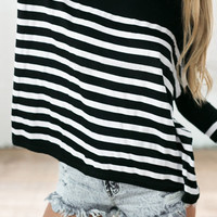 Black and White Striped Long Sleeve Top