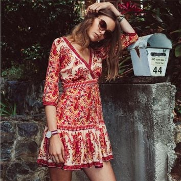 Summer Retro Sexy Floral beach dress women half sleeve vintage beach cover up wrap swing dress cover up bandage