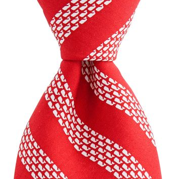 Vineyard Vines, Whale Rep Stripe Tie, College Bright Red