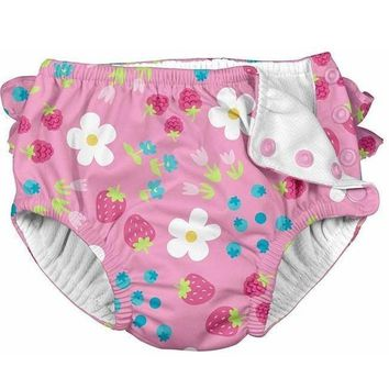 i Play Fun Ruffle Snap Reusable Swimsuit Diaper- Light Pink Daisy Fruit