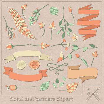 Hand drawn banners flowers floral laurel digital Clipart (set of 30) leafs feather ribbon clipart for logo design scrapbook wedding invites