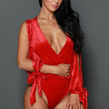 Top Notch Velvet Bodysuit- Red