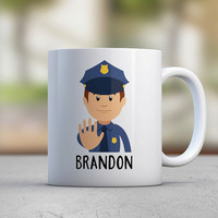 Male Police Officer Gift Custom Gift Personalized Mugs Uniform Cute Mugs Coffee Mugs Custom Illustration Cartoon Kawaii