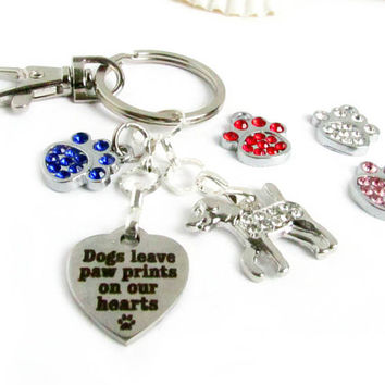 Paw Keychain, Heart Keychain, Pet Keychain, Pet Loss Keychain, Cat Keychain, Car Accessories, Pet Key Chain, Love My Dog Keychain