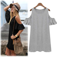 Women Butterfly Sleeve Cotton Cute Strap off Shoulder Vest dress plus size SV001731 = 5617690945