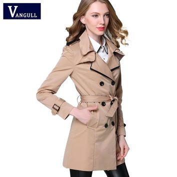 VANGULL New Fashion Designer Brand Classic European Trench Coat khaki Black Double Breasted Women Pea Coat real photos