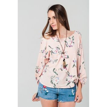 Floral print blouse in pink