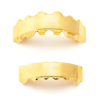 Premium Gold Plated Flat Finished Bling Bling Grillz