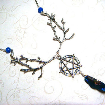 Wiccan Necklace, Gemstone Jewelry, Pagan Necklace Agate & Quartz Metaphysical, Spiritual, Witchcraft, Nature Trees Pentacle Handfasting Gift