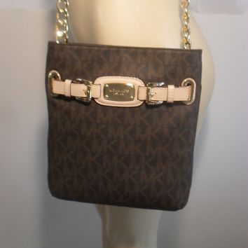 NWT Michael Kors Hamilton Brown MK Messenger Crossbody PVC Bag Handbag Purse