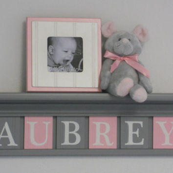 "Gray and Pink - Pastel Pink Baby Girl Nursery Decor - AUBREY - 24"" Grey Shelf with 6 Wooden Letters"