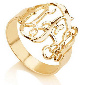 Monogram Ring -18K Gold Plated .925 Sterling Silver