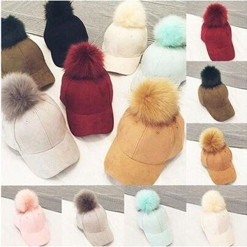 DCCKWJ7 Baseball Caps New Women Faux Fox Fur Pompom Ball Suede Adjustable Baseball Cap Hip-Hop Hat UK