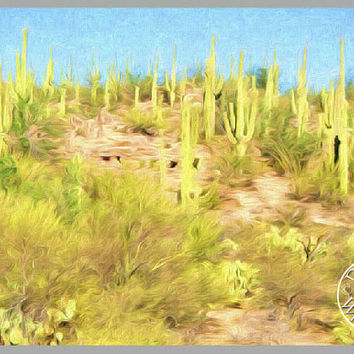 Desert Oil Painting Photography Print Fine Art Wall Art Decor Southwest Art Arizona Desert Art