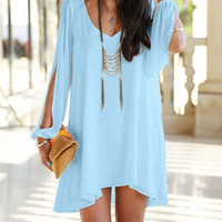 Blue V-Neck Cut Out Mini Dress
