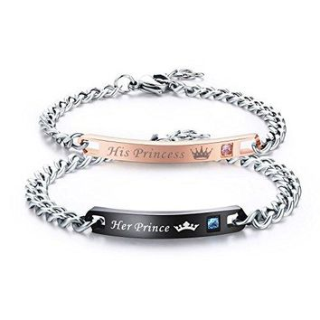 LAVUMO His Hers Couples Bracelets King and Queen Matching Set Anniversary Promise Gifts Stainless Steel 2pcs