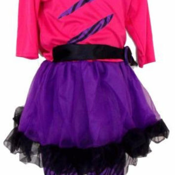 Leg Avenue Girls Purple Pink Halloween Costume Off Shoulder Dress Pants