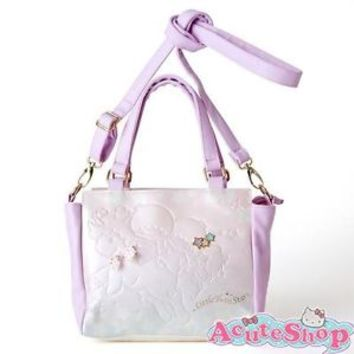 Little Twin Stars Tote Shoulder Bag Cross Body PU Leather 2Way Gem Style Sanrio