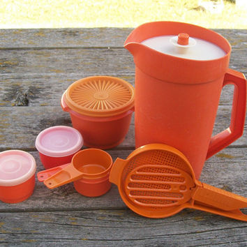 Vintage Orange Tupperware Lot Pitcher Measuring Cups Flour Sifter Small Containers