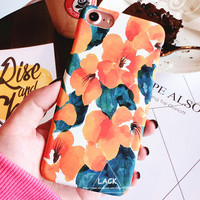 Fashion Colorful Cartoon Flower Case For iphone 7 Case For iphone7 7 Plus Phone Cases Art Oil Painting Floral Cover Hard Capa