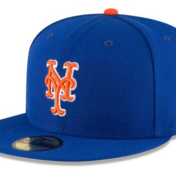 New Era New York Mets ALT 59Fifty Fitted Hat (Light Royal/Orange) MLB Cap