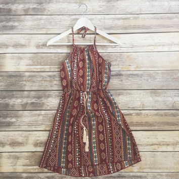 Rust Multi Print Halter Dress
