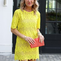Yellow Lace Dress-Karlie Banana Leaf Dress-$99.00 | Hand In Pocket Boutique
