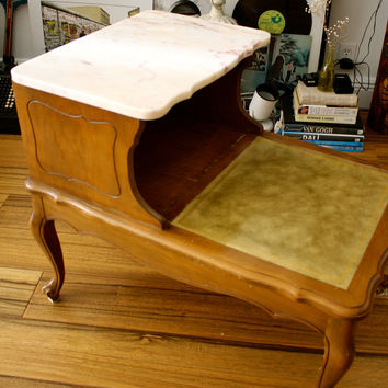 Two Tier Marble/Wood Side Table