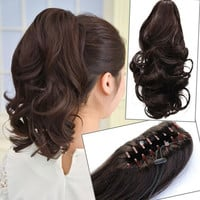 Clip In Ponytail Pony Tail Hair Extension Piece Wavy Style Wrap On Hair Piece