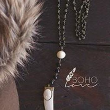 Beaded White Tooth Necklace
