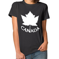 Women's T shirts New 2017 Summer Style Casual Female Tops Maple Leaf Canada Fashion Cotton O-neck Printing T-shirts Hot Sale