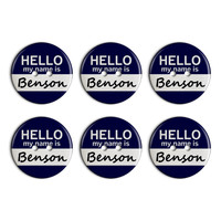 Benson Hello My Name Is Plastic Resin Button Set of 6