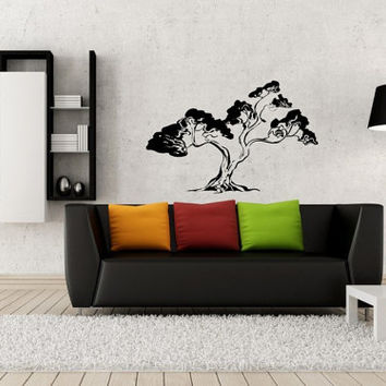 ik16-Wall Decal Sticker Room Decor Wall Art Mural Japanese bonsai tree Buddha Omonia small tree interior bedroom living room hall