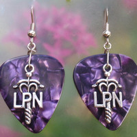LPN Licensed Practical Nurse Dangle Earrings, Professional Guitar Pick Jewelry, Choice 12 Colors, Pierced or Clip On