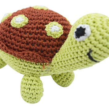 Dog Teeth Cleaning Cotton Crochet Squeaky Dog Toy for Small Dog - Turtle