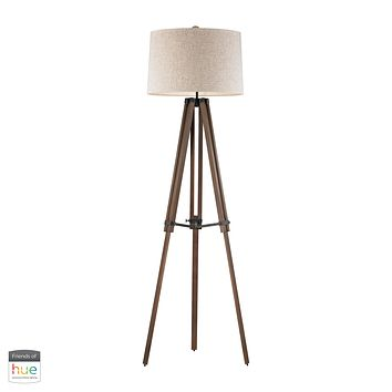 Wooden Brace Tripod Floor Lamp - with Philips Hue LED Bulb/Dimmer