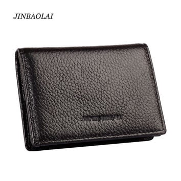 2016 New Arrival Unisex Fashion Genuine Leather Brand Name Business Women Card Holder Bank Credit Cards Travel Men Wallet Bag