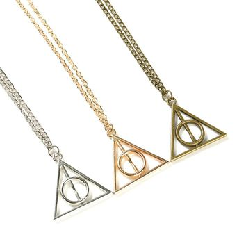 Harry Potter Luna the Deathly Hallows Necklace round Triangle Pendant Necklace 171123