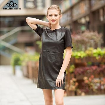 Bella Philosophy 2018 short sleeve faux leather dress women black back zipper bodycon dress women patchwork mini dress