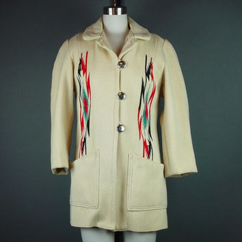 60s Chimayo Coat Vintage Cream 1960s Ganscraft Southwestern Blanket Jacket Woven Native S
