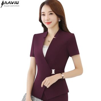 Fashion elegant belt women blazer new summer formal slim short sleeve jacket office ladies plus size work wear Business coat