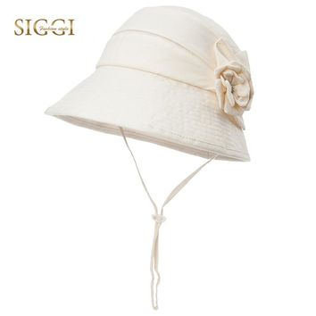 SIGGI Women Linen Sun Hat Summer flower bucket UV Upf 50 chapeu feminino praia chapeau femme Packable fashion elegant 89314