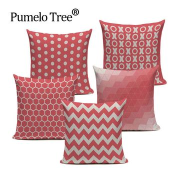 Pink Chevron Vintage Throw Pillow Case Square Cushion Cover Home Décor Sofa Bed