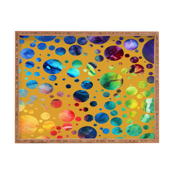 Madart Inc. Polka Dots Gold Rectangular Tray